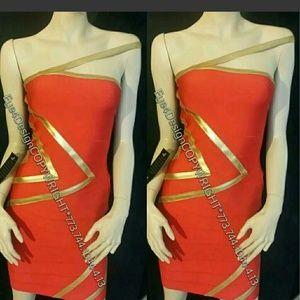 Bebe Red gold Bandage Sexy dress xs
